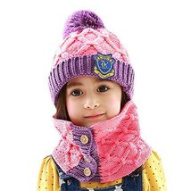 Baby/Child Pink Cap Handmade Hat Knitting Winter Warm Hat+Scarf 6 months-4 years