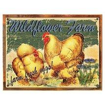 Wildflower Farms Fresh Eggs Metal Sign Framed on Rustic Wood, Rustic Cou... - $39.59