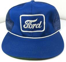 Vintage Ford Square Logo Rope Blue Mesh Trucker Cap Hat Snapback Flat Bill - £45.69 GBP