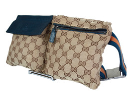Authentic Gucci GG Pattern Browns Canvas Leather Waist Belt Bag GW1916 - £255.91 GBP