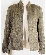 Victor Costa jacket SZ 10 gold crinkle embossed zipper front close long ... - $9.89