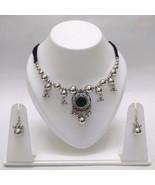 Set Necklace Earrings Jhumka Choker Silver Oxidized Jewelry Tribal Boho ... - $7.91