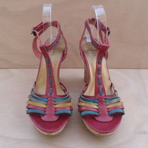 Guess Women's Size 10 M T-Strap Platform Wedge Sandals Red Yellow Brown - $36.54