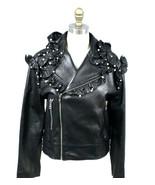 Gucci Lamb Leather Biker Jacket Ruffles Pearls Black NWT EU42 US 8 S/M - $3,959.99