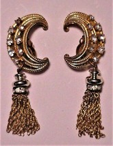 KARU ARKE Vintage Rhinestone Half Moon Gold-Tone Tassle Clip-On Earrings - $59.95
