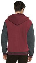 Men's Hooded Soft Sherpa Fleece Lined Varsity Zip Up Two Tone Hoodie Jacket image 10