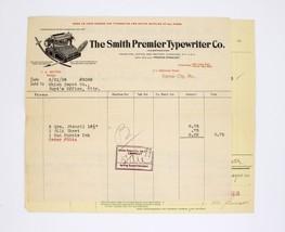 Early 1900s Invoice ~Smith Premier Typewriter Co.- Kansas City, MO -1908 - $49.99