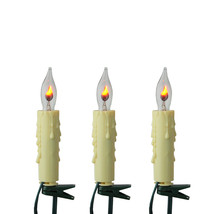 Set of 7 Flicker Flame Candle Clip-On Christmas Light Candles - Green Wire - $30.48