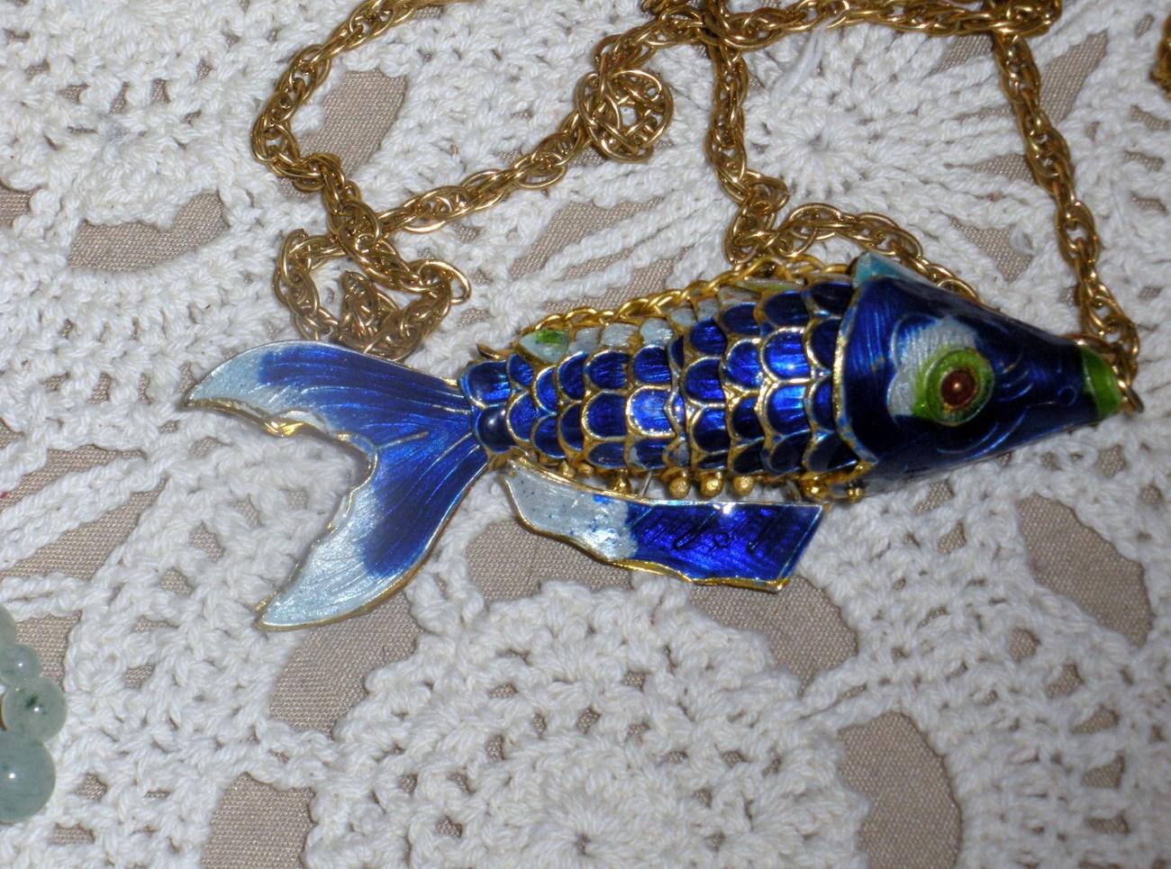 Cloisonne koi fish pendant chain necklace blue orange for Blue and orange koi fish