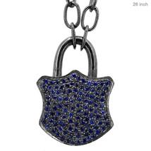 Designer 1.02Ct Pave Sapphire 925 Sterling Silver Padlock Charm Pendant ... - $383.35