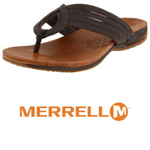 MERRELL Lidia SANDALS Flip Flops Thongs LEATHER Sz 9 BROWN    nn - $28.50