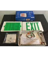 Hubbell Exit Sign LED GREEN Two EXIT Faces Dual Voltage 120/277 Test Switch - $23.75