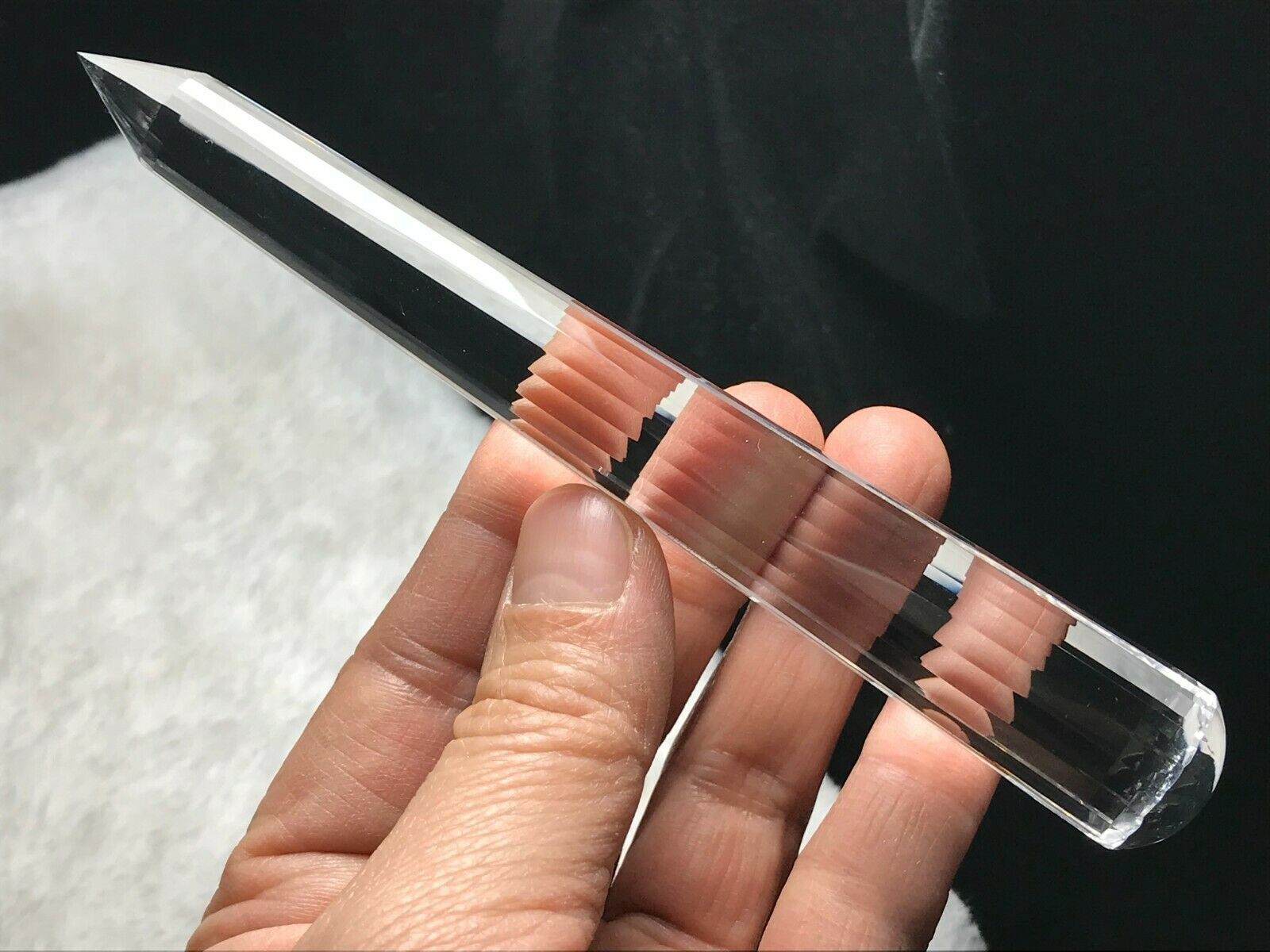 Primary image for 18 Sided Vogel Style Natural Clear Quartz Crystal Wand Point Healing k122614