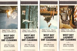 Illinois Matchbook Cover Elgin West Boy Laundry Dry Cleaning Set of 4 - $3.79