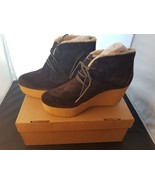NIB Rockport Size 7.5 Medium Brown Cedra Wedge Ankle Boots Wool Lined K7... - $38.72
