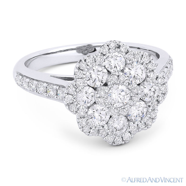 Primary image for 1.27 ct Round Cut Diamond Pave Right-Hand Flower Fashion Ring in 18k White Gold
