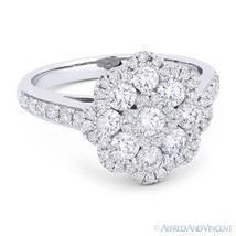 1.27 ct Round Cut Diamond Pave Right-Hand Flower Fashion Ring in 18k Whi... - $2,995.99