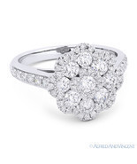 1.27 ct Round Cut Diamond Pave Right-Hand Flower Fashion Ring in 18k Whi... - €2.687,83 EUR