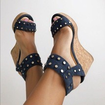 Jimmy Choo NELLY Studded Cork Wedge Espadrille Sandals Pumps Shoes 36.5 - $325.00