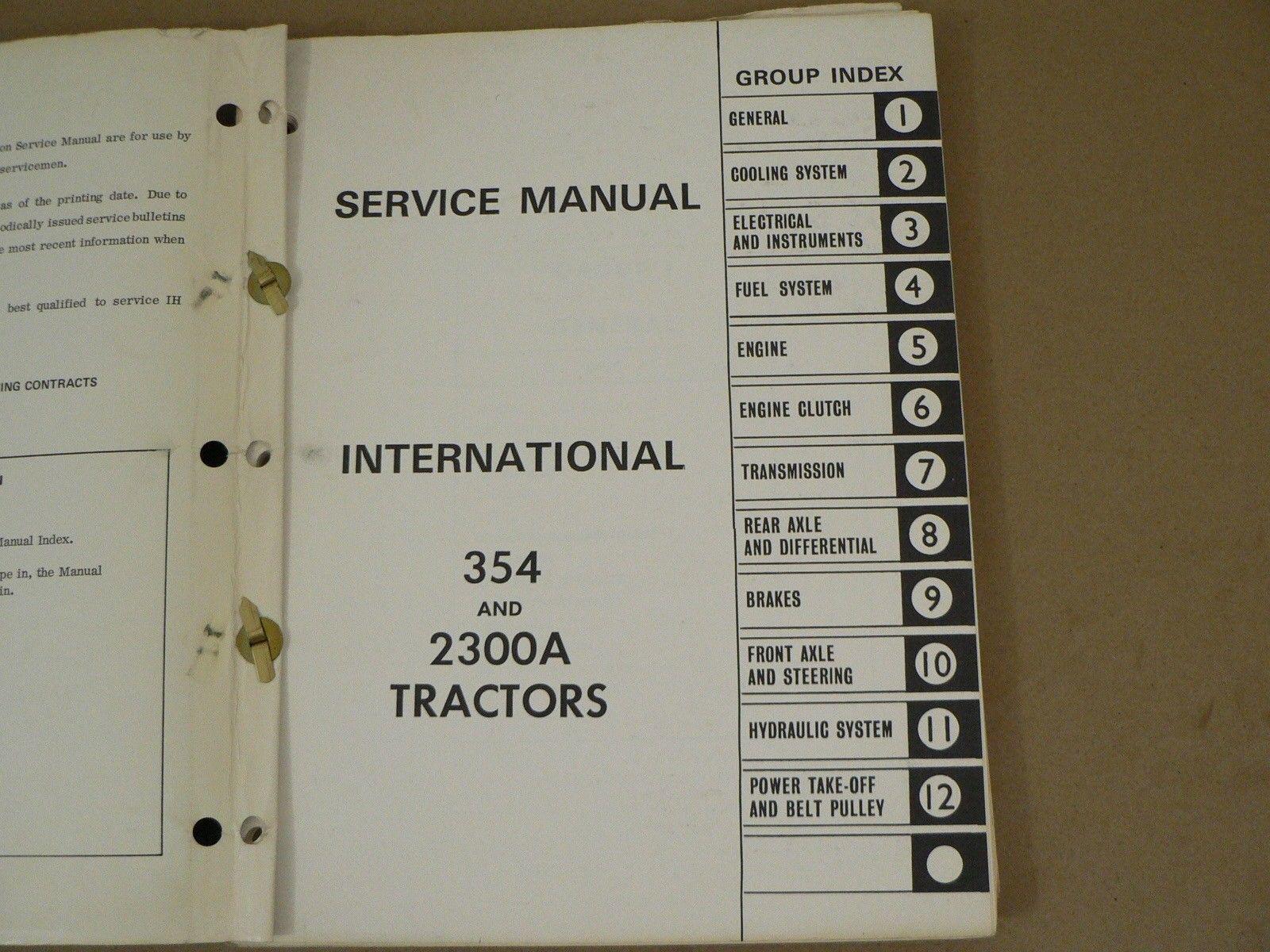 International Harvester Service Manual IH-S-354,2300A Tractors ...