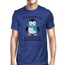 It's Penguin-Ing To Look A Lot Like Christmas Mens Royal Blue Shirt - £11.50 GBP