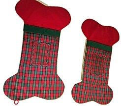 Dog  Christmas Stockings--Plaid--Bone Shaped (X2) with Picture Frame fo... - $10.00
