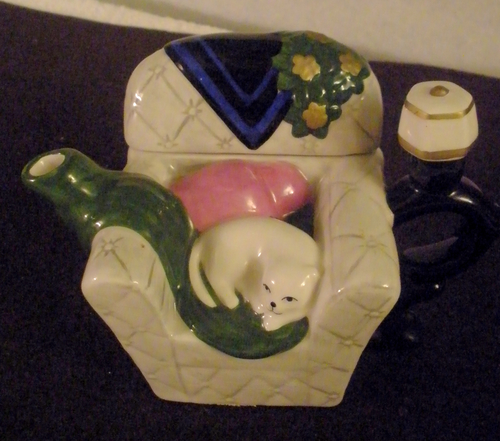 "Houston Harvest Hand Painted Ceramic Sleeping Cat on ""Grandma's Chair"" Tea Pot"