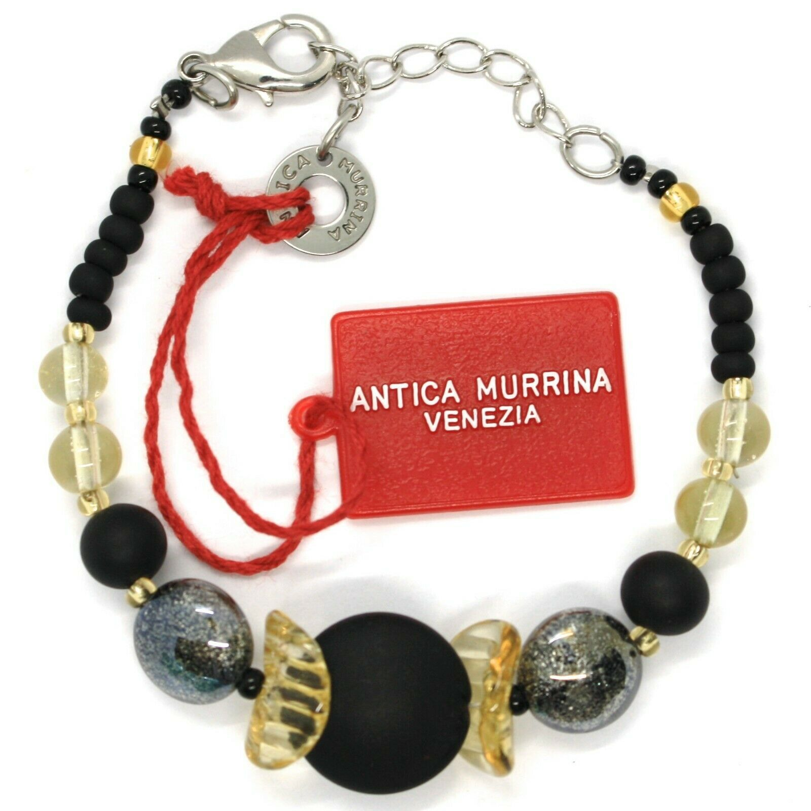 Bracelet Antica Murrina Venezia ,BR699A14,Black Yellow, Discs Spheres