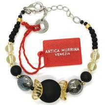 Bracelet Antica Murrina Venezia ,BR699A14,Black Yellow, Discs Spheres image 1