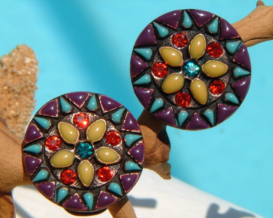 Chicos earrings star burst flower rhinestones