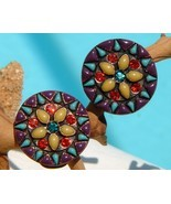 Chicos Enamel Rhinestone Round Clip On Earrings... - $15.95