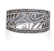 Marcasite and Sterling Silver Swirl Design Ring - $54.99