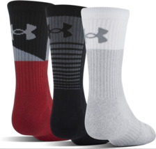 UNDER ARMOUR SOCKS Phenom 3.0 Crew U336 1310146 Black Red Grey L 9 -12.5... - $75.32