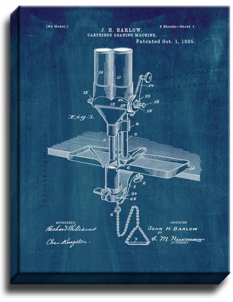 Primary image for Cartridge Loading Machine Patent Print Midnight Blue on Canvas
