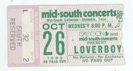 RARE Loverboy 10/26/83 Memphis TN Mid South Coliseum Concert Ticket Stub! - $14.84