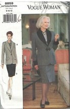 8859 UNCUT Vogue Sewing Pattern Misses Loose Fitting Lined Jacket Skirt ... - $4.89