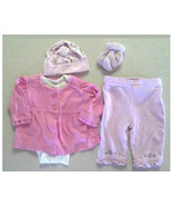 Lot of 5 Girl's Size 0-3 M Pink Cardigan, Top, Pants, Cap & Other Outfit... - $15.00