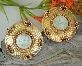 Vintage Mint Green Enamel Gold Tone Earrings Signed Pisces - $16.95