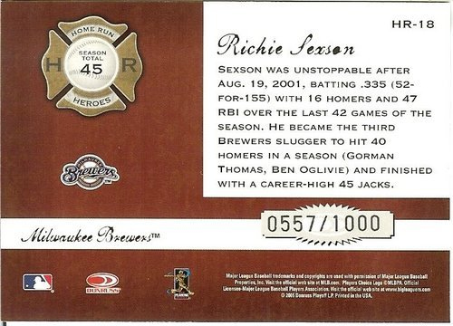 2005 donruss Milwaukee brewers richie sexson serial # 557/1000
