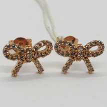 18K ROSE GOLD EARRINGS, BOW WITH ZIRCONIA, KNOT LENGTH 9 MM, MADE IN ITALY image 1