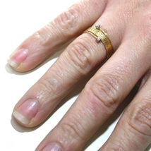 18K YELLOW GOLD MAGICWIRE RING, MULTI WIRES ELASTIC WORKED, contrarié, DIAMOND image 3