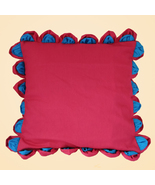 Teal Magenta Leaf Edge Ruffled Cotton Pillow Sham Cover - $19.99+