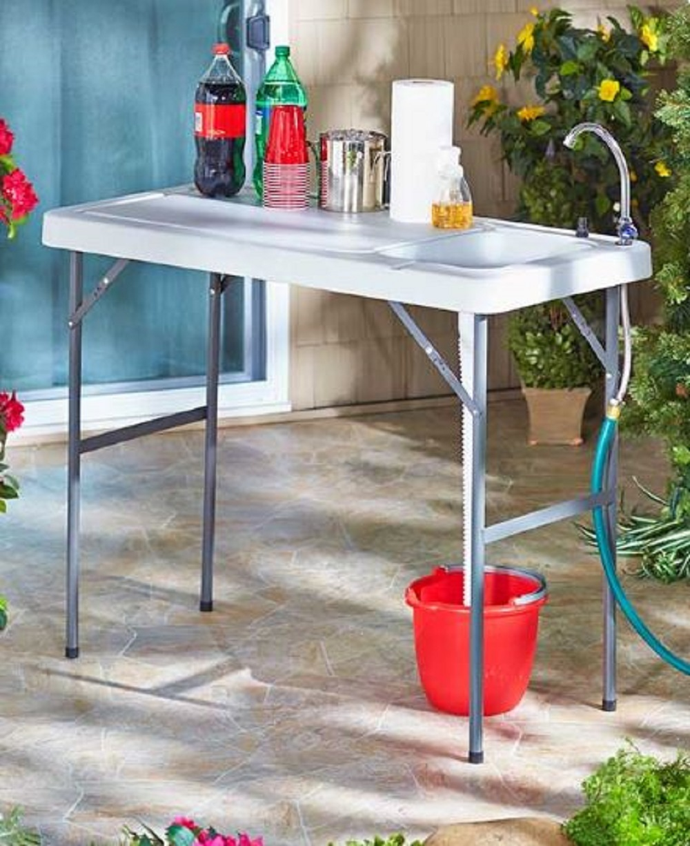 Outdoor Sink Serving Table Garden Potting Bench Camp Prep Game Meat Portable NEW