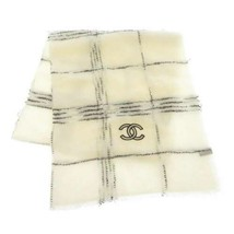 CHANEL Scarf Stole Cashmere White Black Blue CC Logo Fashion Accessory I... - €685,89 EUR