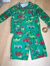 Size 12 Months Carters Flannel Pajamas Top Pants Holiday Green Cars Tree... - $12.00