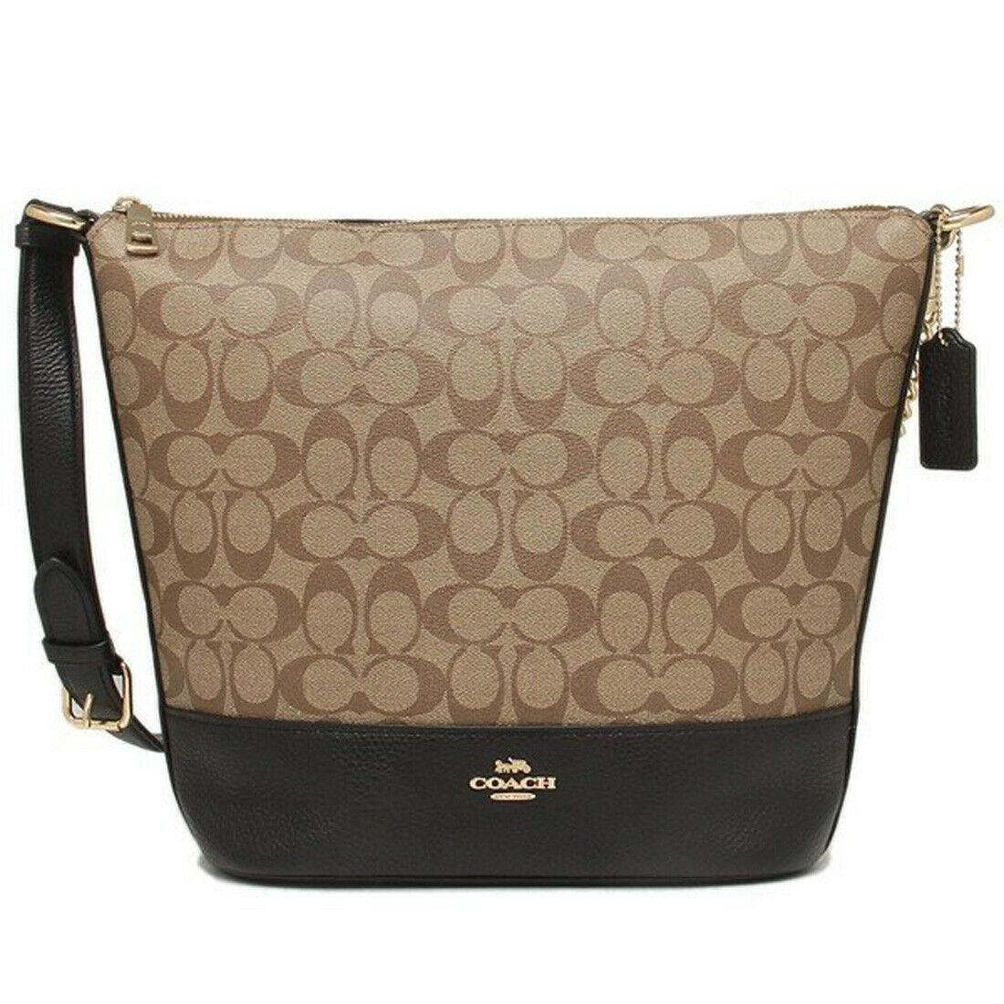 Primary image for NWT COACH Paxton Duffle Bag Crossbody Gold Chain Logo Canvas Khaki Black F72852