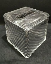 NAUTICA heavy stripe clear glass  Tissue Kleenex square Box Cover - $33.63
