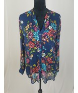 KUT from the Kloth women L sheer Jasmine long sleeve print blouse floral - $28.71