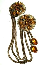 VINTAGE ANTIQUE SIGNED RHINESTONE FILIGREE CHATELAINE SWEATER BROOCH SET - $95.00