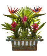 Birds of Paradise and Bromeliad in Planter - $115.64